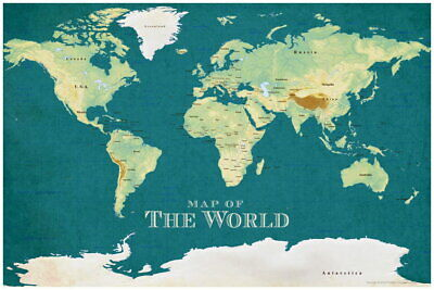 102318 ProMaps Map of the World Vintage Style Blue Art LAMINATED POSTER AU