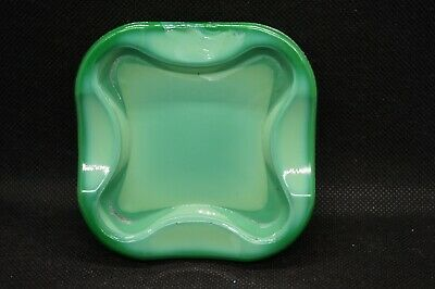 Art Deco Bohemian Czech Curt Schlevogt Ingrid Malachite Green Glass Ashtray Tray