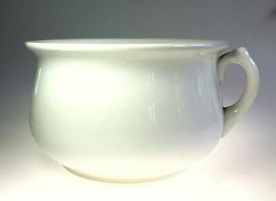 Homer Laughlin Antique White Ceramic Ironstone Chamber Pot w Stamped Mark