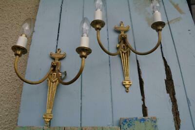 Vintage French Empire Brass Wall Sconce Lights Acanthus Leaf Hollywood Regency