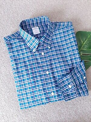 Brooks Brothers 346 Slim Fit Blue/Green Check Shirt Size XL Long Sleeve