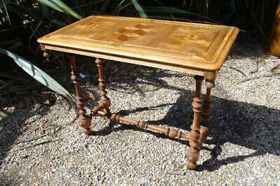 Antique Victorian Marquetry Inlay Walnut Sofa Center Table Or Writing Desk 1860s