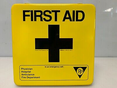 First Aid Kit Empty Yellow Lid Metal Storage Box Home Health Wall Mount USA Made