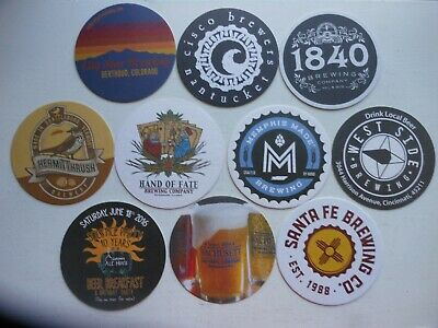 10 Craft Beer Coasters-Hand Of Fate,West Side,Memphis Made,1840,Santa Fe,Hermit