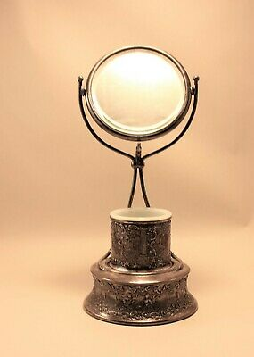 Antique Silver Plated Shaving Vanity Swivel Beveled Mirror Stand w/Milk Glass