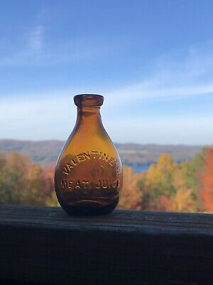Antique Valentine's Meat Juice Amber Glass Tear Drop Shaped Medicine Cure Bottle