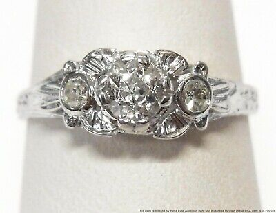 GIA Old Euro I SI2 Diamond 18k Ring White Gold Ladies Antique Art Deco Size 6.75