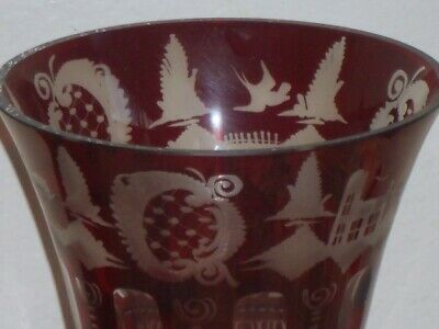 EGERMANN Antique Vase Ruby Red Cut to Clear Bohemian Czech Etched Glass Vase