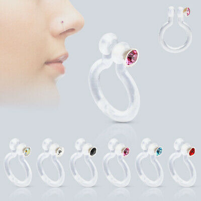 BioFlex Fake Nose Stud Ring Piercing Hoop with CZ Gem