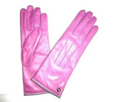 COACH Women's Cashmere Lined Leather Gloves PINK new rose size 7.5 NWT NEW 82821