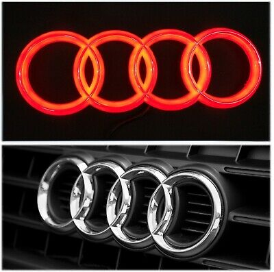 Audi A1 A3 A4 A5 A6 A7 Q3 Q5 Q7 Chrome Red-LED Light Front Grill Emblem Badge