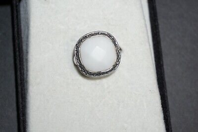 Beautiful Silver Decorative White Stone Ring With Scrolled Black Edge Designs