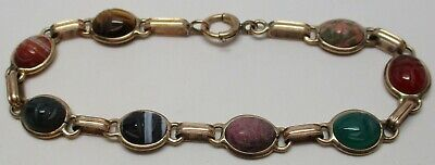"Vintage 1/10 14K GOLD Genuine MULTI-GEMSTONE Scarab Beetle 7-3/4"" Bracelet"