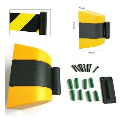 10m Barrier Tape Hazard Safety Warning Yellow Black Retractable Isolation Belt