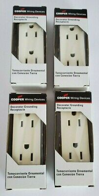 Lot Of 4 Cooper Decorator Grounding Receptacle 1107A-Box 2-Pole 3-Wire 15A-125V