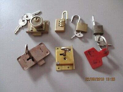 Vintage Brass Locks  -3  Chest Trunk Working With Keys & 3 Padlocks With Keys