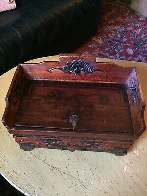 Vintage Chinese Box Hand Carved Wood With Secret Drawer