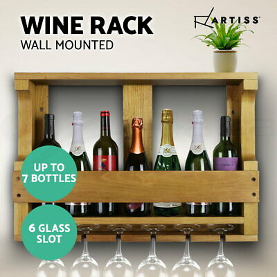 Artiss 7 Bottle Wine Rack Storage Timber Wooden Wall Hang Racks Glass Organiser