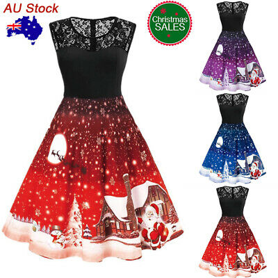 Women Lace Cartoon Print Christmas Swing Dress Ladies Xmas Party Skater Dress