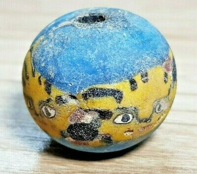 Antique Islamic Phoenician Pumpkin Yellow  Face Style Sand core Glass Bead