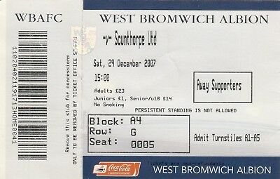 Ticket - West Bromwich Albion v Scunthorpe United 29.12.07