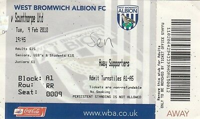 Ticket - West Bromwich Albion v Scunthorpe United 09.02.10