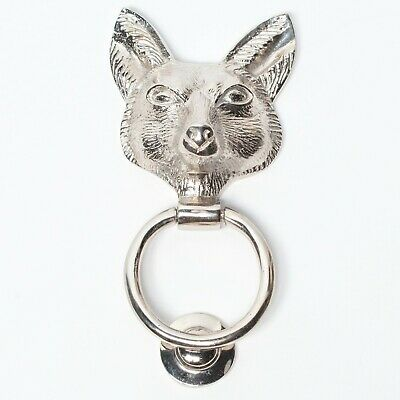 Classical Solid Brass Chrome Finish Fox Door Knocker Animal Country Style