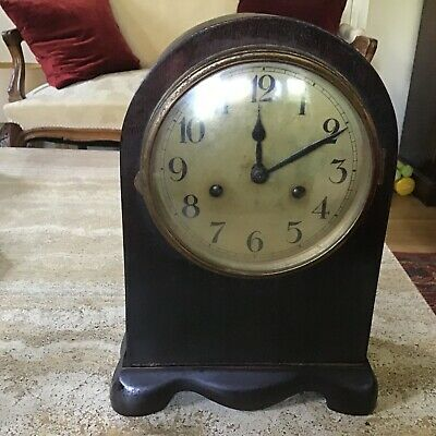 Antique Mahogany Chiming Mantel Clock For Restoration
