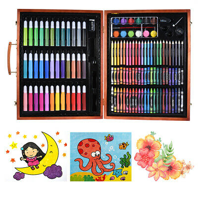 148pcs Deluxe Art Set for Kids with Wooden Case Color Markers Pencils D5E2
