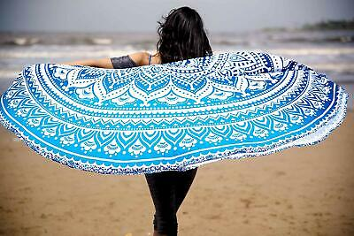 100% Cotton Ombre Printed Blue Mandala Round Tapestry Table Cover Beach Throw