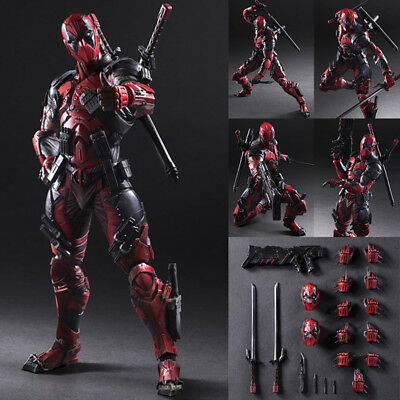 """Deluxe Play Arts Kai Deadpool Hero 10/"""" Variant Action Figure Collectible Toy UK"""