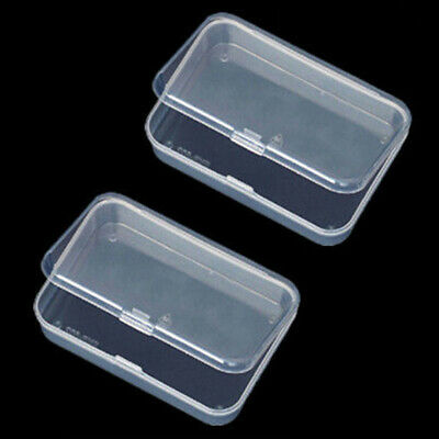 2PCS Small Plastic Transparent With Lid Collection Container Case Storage Box UK