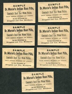 7 Antique c1875 Quack Medicine Sample Envelopes Dr Morse's Indian Root Pills [B