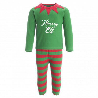 Personalised Name Elf Christmas Pyjamas / PJS baby, childrens matching, T Shirt