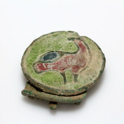 Superb-Roman Era Egyptian Enamel Disc Bronze Fibula Brooch Circa 200-300 Ad