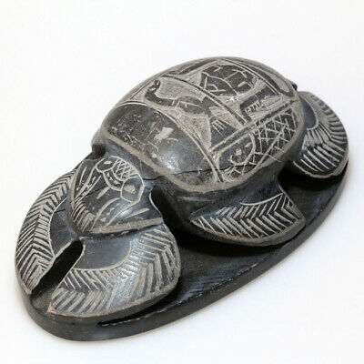 Scarce-Hand Made Egyptian Heavy Black Stone Decorated Seal Scarab Ca 1700-1800 A