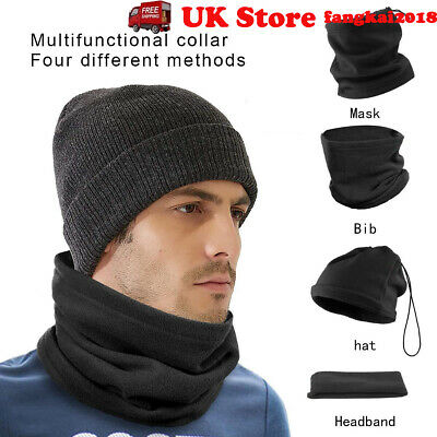 Fleece Neck Warmer Thermal Polar Snood Scarf Hat Ski Wear Mens Ladies UK