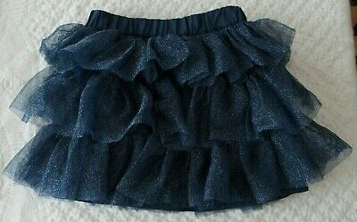 Crazy 8 Girls 5 6 Tiered Skirt Navy sparkle holiday Christmas tulle