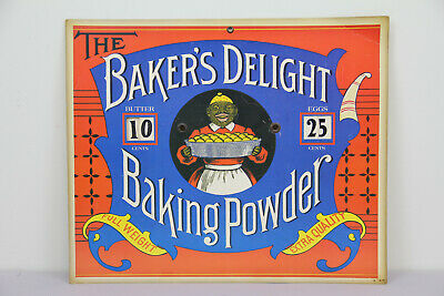 Vintage Bakers Delight Baking Powder Black Americana Mammy Eggs Butter Cardboard