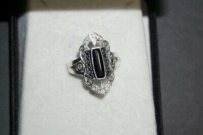 Gorgeous Rectangle Cut 11 Stone Thai Silver Ring With Dazzling Black Onyx Stones