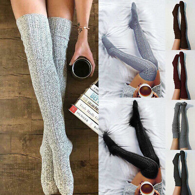 Women Girls Winter Cable Knitted Long Socks Over Knee Thigh High Stockings Lot