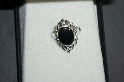 Beautiful 925 Sterling Silver Solitaire Ring With Black Oval Shaped Onyx Stone