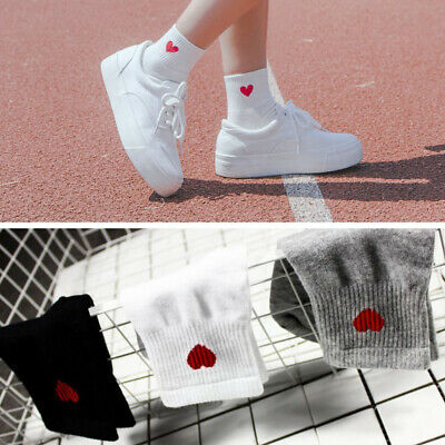 Women Girls Cute Heart Pattern Ankle High Short Casual Sports Soft Cotton Socks