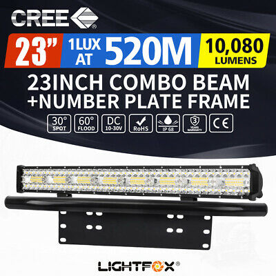 23inch CREE LED Light Bar Spot Flood Driving Lamp Bonus Plate Frame Offroad 4WD