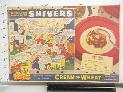newspaper ad 1940s CREAM OF WHEAT cereal box comic WWII American Weekly SHIVER