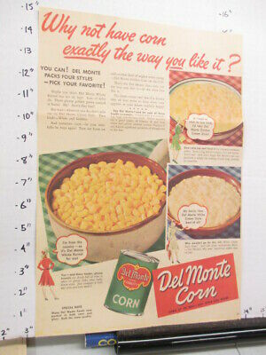 newspaper ad 1940s DEL MONTE white cream corn canned food WWII American Weekly