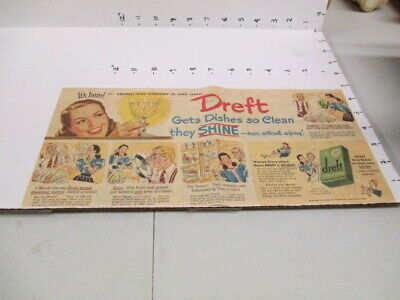 newspaper ad 1940s DREFT dish washing soap detergent + Gillette shaving cream
