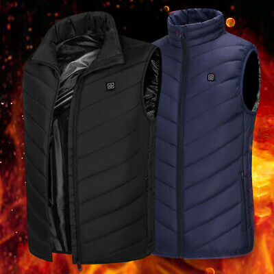 Mens Womens Electric Vest Heated Cloth Jacket USB Thermal Warm Heated Pad Winter
