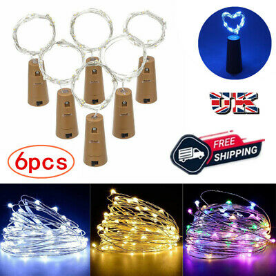 6 Bottle Fairy String Lights Battery Cork Wire Gin Shaped LED Xmas Wedding Party