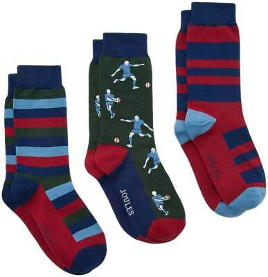 Joules Striking Mens 3 Units Pack Canvas Socks In Stripped Multi Colour